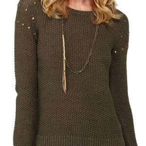 Roxy Studded Army Green Pullover Sweater